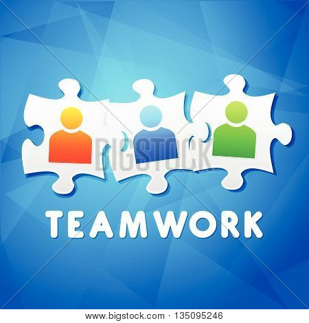 teamwork and puzzle pieces with person signs over blue background, flat design, business team building concept, vector