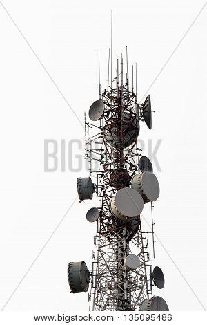 Telecommunication, antenna tower white sky microwave wireless cellular technology