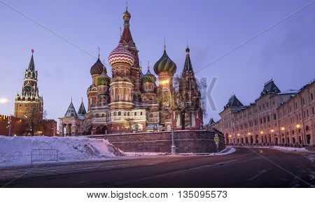 Saint Basil Cathedral on Red Square in Moscow Russia