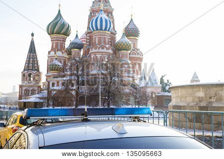 Car of Moscow police on Red Square in Russia