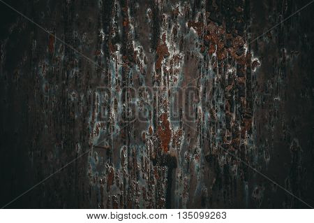 dark rusty metal wall use for background.
