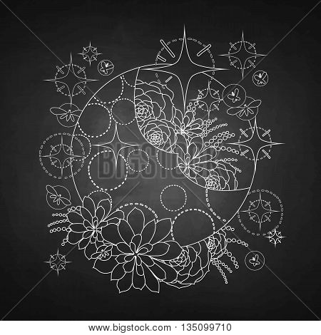 Graphic moon with succulent design among stars and glowing butterflies. Abstract fantasy art isolated on chalkboard