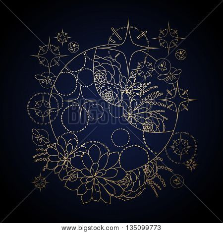 Graphic moon with succulent design among stars and glowing butterflies. Abstract fantasy art isolated on black background