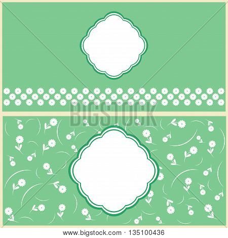 set of greeting cards design in green tones.