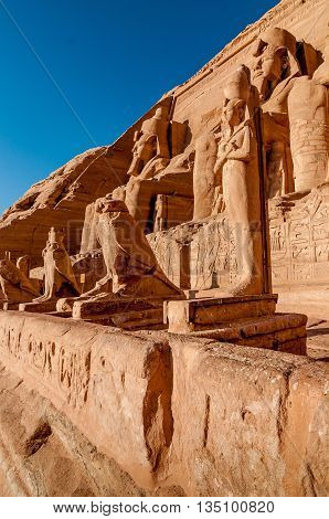 Carved statue of Ramesses II at Abu Simbel Egypt.