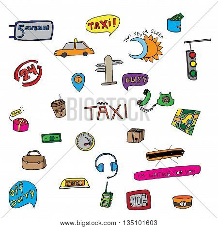 Taxi transportation set. Hand drawn vector stock illustration.