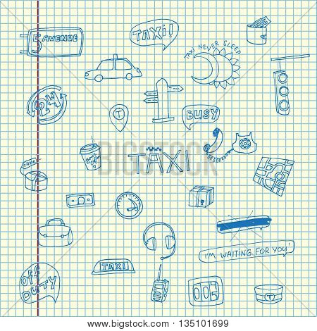 Taxi transportation set. Hand drawn vector stock illustration. Sheet ballpen drawing