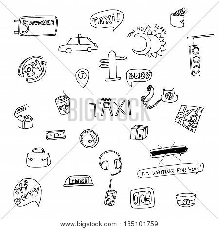 Taxi transportation set. Hand drawn vector stock illustration. Black and white whiteboard drawing