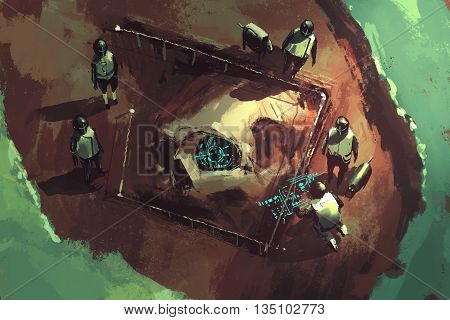 archeology dig, giant skull, sci-fi scene, illustration painting