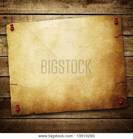 vintage paper on wood plank