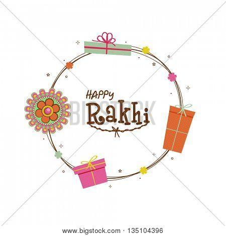 Beautiful Rakhi and Gifts decorated, Greeting Card design for Indian Traditional Festival, Happy Rakhi (Happy Raksha Bandhan) celebration.