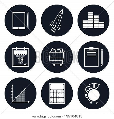 Set of Round Business Icons,Phone and Office Items, Icon of Business Success, Graph Growth, Shopping Basket , Black and White Vector Illustration