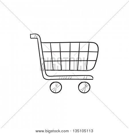 Shopping cart vector sketch icon isolated on background. Hand drawn Shopping cart icon. Shopping cart sketch icon for info graphic, website or app.