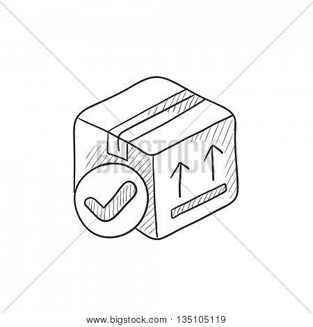 Carton package box vector sketch icon isolated on background. Hand drawn Carton package box icon. Carton package box sketch icon for info graphic, website or app.