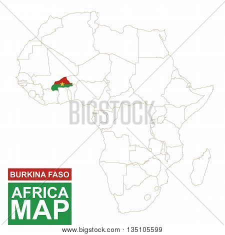 Africa Contoured Map With Highlighted Burkina Faso.