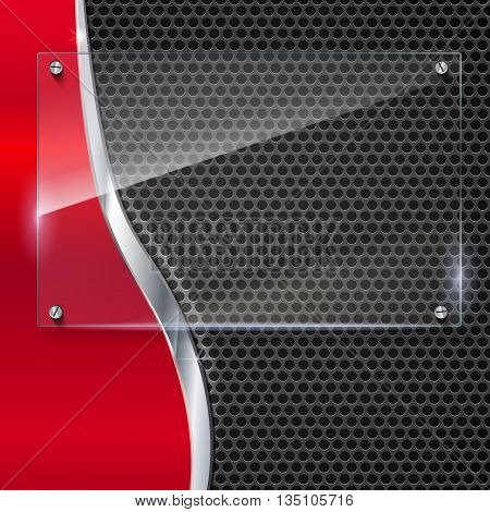 Elegant vector metallic background with glass banner. Color polished texture with highlights and glow on the background of metal mesh. Vector editable texture, easy to change size