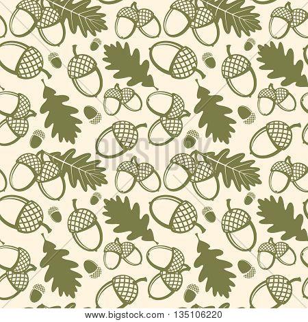 Oak leaves and acorns vector seamless pattern. Pattern seamless, oak acorn, nature plant oak leaf, flora oak leaves illustration
