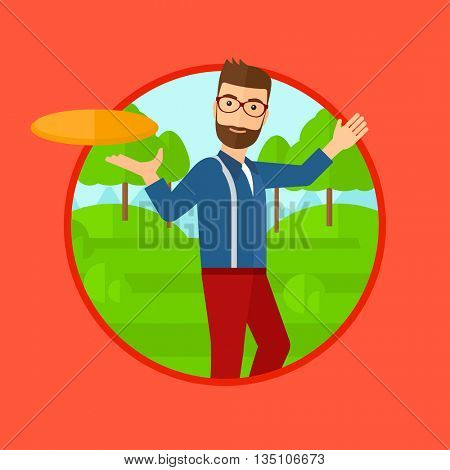 A hipster man with the beard playing flying disc in the park. Man throwing a flying disc. Sportsman catching flying disc outdoors. Vector flat design illustration in the circle isolated on background.