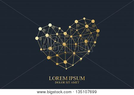Golden vector template heart Sign. Creative concept design gold icon for medicine, science, technology , chemistry and Valentines Day.