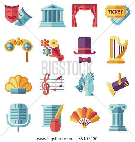 Theatre acting performance flat icons set. Drama performance theater, comedy performance theater, curtain and mask, tragedy performance theater. Vector illustration