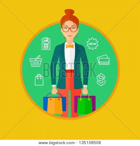Woman holding shopping bags. Happy young woman carrying shopping bags and a lot of shopping icons on a background. Vector flat design illustration in the circle isolated on background.