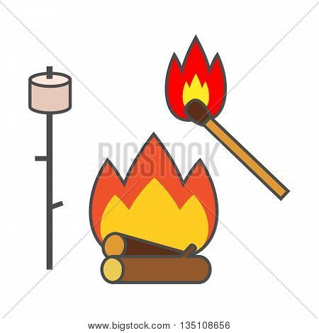 Campfire vector icon. Colored line icon of campfire, match and marsh-mallow on stick