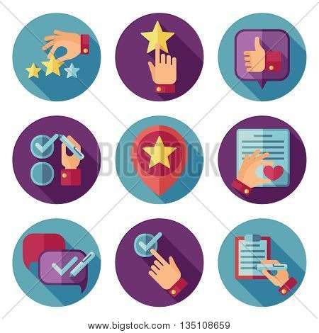 Customer service flat vector icons set. Customer icon, service customer icon, comment writing customer illustration