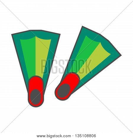 Flippers vector icon. Colored line illustration of diving flippers