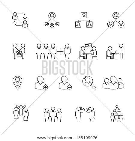 Human management icons. Human resource management thin line icons. Human resource organization, teamwork human resource, team human resource. Vector illustration