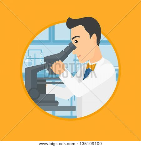 Male laboratory assistant working with microscope at the laboratory. Young scientist using a microscope in a laboratory. Vector flat design illustration in the circle isolated on background.
