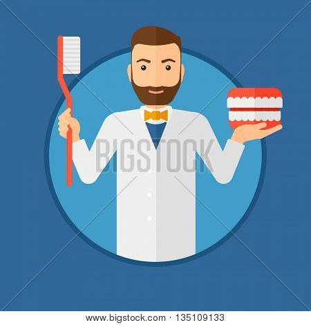 A hipster dentist with the beard holding dental jaw model and a toothbrush. Male dentist showing dental jaw model and toothbrush. Vector flat design illustration in the circle isolated on background.