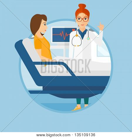 Doctor visiting female patient at hospital ward. Doctor pointing finger up during consultation with patient in hospital room.Vector flat design illustration in the circle isolated on background.