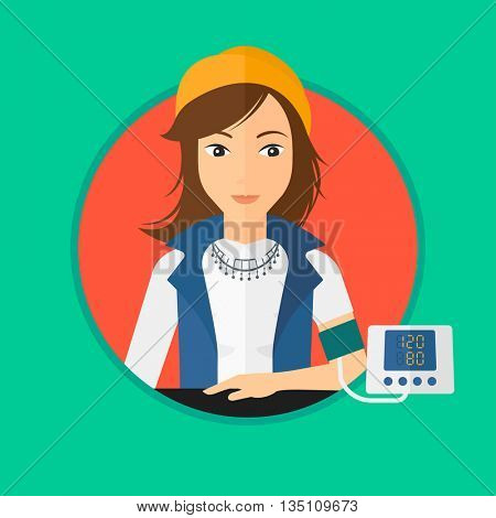 Woman checking blood pressure with digital blood pressure meter. Woman taking care of her health and measuring blood pressure. Vector flat design illustration in the circle isolated on background.
