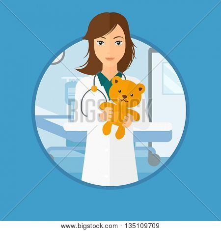 Young female pediatrician doctor holding a teddy bear. Professional pediatrician doctor with a teddy bear in the hospital room. Vector flat design illustration in the circle isolated on background.