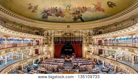 Buenos Aires Argentina - March 2016. The famous bookshop El Ateneo Grand Splendid. It's situated at 1860 Santa Fe Avenue. In 2008 it was placed as the second most beautiful bookshop in the world