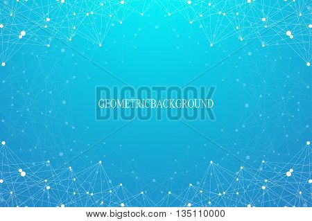 Geometric abstract background with connected line and dots. Graphic backdrop for your design. Vector illustration.