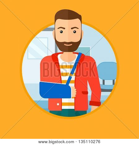An injured hipster man with the beard wearing an arm brace. Man with his broken right arm standing in the hospital corridor. Vector flat design illustration in the circle isolated on background.