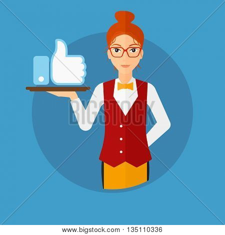 Waitress carrying a tray with like button. Waitress holding restaurant tray with like button. Waitress with social network button. Vector flat design illustration in the circle isolated on background.