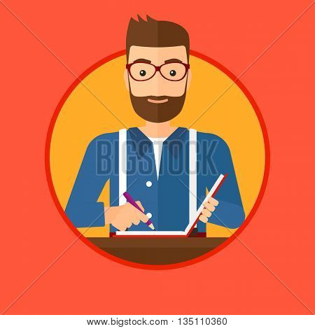 Hipster journalist with the beard sitting at the table and writing in notebook with pencil. Journalist writing notes with pencil. Vector flat design illustration in the circle isolated on background.
