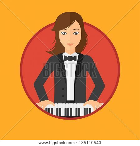 Young musician playing piano. Pianist playing upright piano. Female artist playing on synthesizer. Vector flat design illustration in the circle isolated on background.