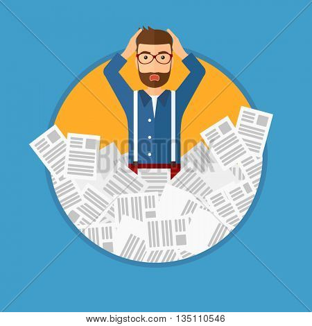 Stressed man with the beard clutching his head because of having a lot of work to do. Busy businessman with lots of papers. Vector flat design illustration in the circle isolated on background.