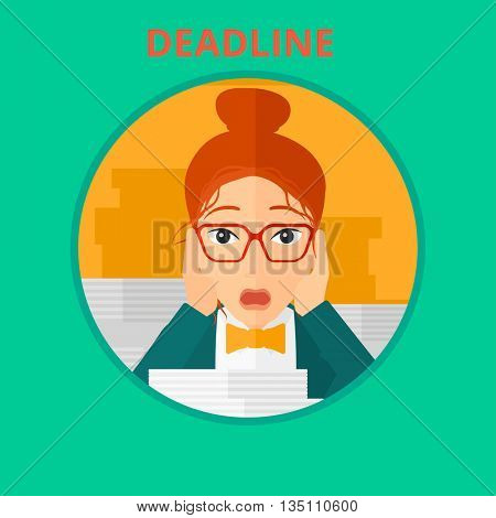 Stressed business woman sitting at the table with stacks of papers. Business woman having problem with deadline. Deadline concept. Vector flat design illustration in the circle isolated on background.