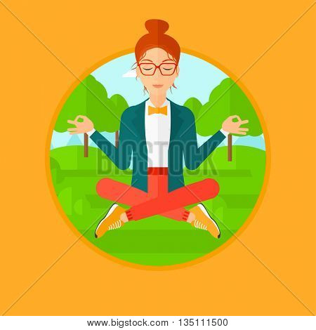 Young business woman meditating in yoga lotus position outdoor. Business woman relaxing in the park in the lotus position. Vector flat design illustration in the circle isolated on background.