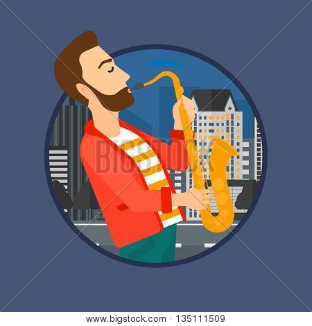 Hipster musician with the beard playing on saxophone. Man playing on saxophone in the night. Man with saxophone in the city street.Vector flat design illustration in the circle isolated on background.