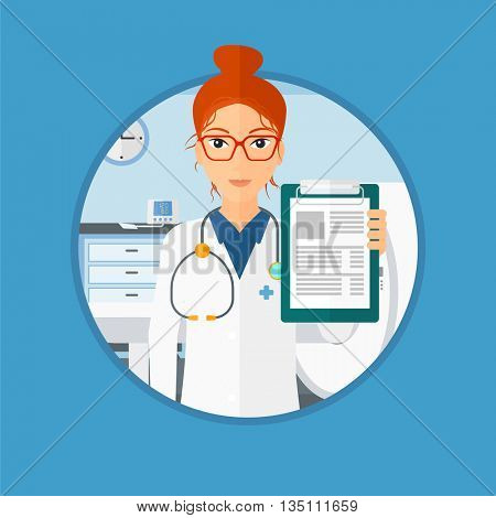 Female doctor showing clipboard with prescription. Doctor holding clipboard on the background of hospital room with MRI machine. Vector flat design illustration in the circle isolated on background.