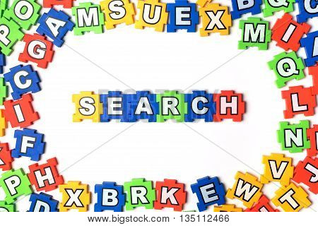 Puzzle search on white background. jigsaw, puzzle