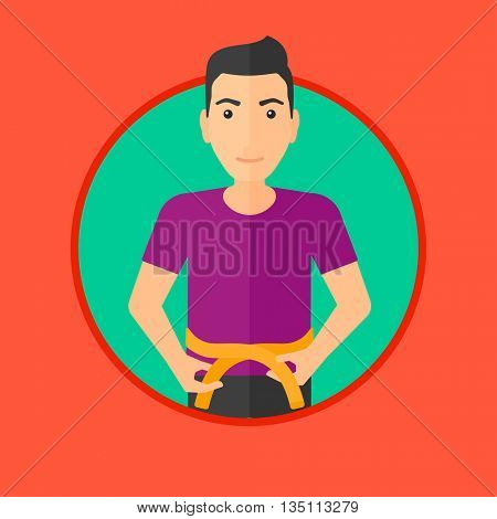 Young man measuring his waistline with a tape. Man measuring with tape the abdomen. Man with centimeter on a waist. Vector flat design illustration in the circle isolated on background.