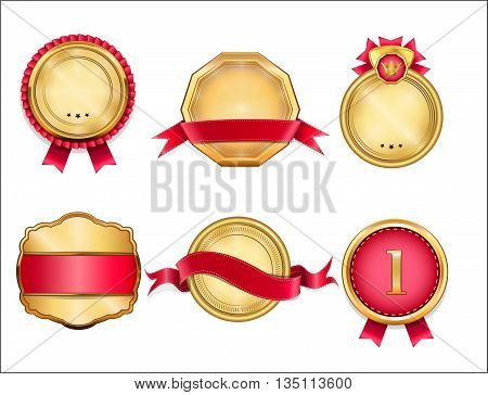Royal, Realistic, Vector badges and gold ribbon banners, for your design project. Golden badges. Red labels