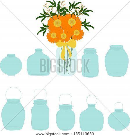 Jars set, bouquet of herberas in jar, vector illustration.