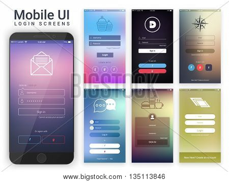 Material Design UI, UX and GUI layout with different glossy Login Screens including Account Sign In and Sign Up features for Mobile Apps and Responsive Website.